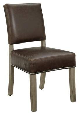 Gracie Oaks Rader Genuine Leather Upholstered Dining Chair (Set of 2) Gracie Oaks