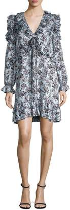Robert Rodriguez Ruffled Silk Shift Dress