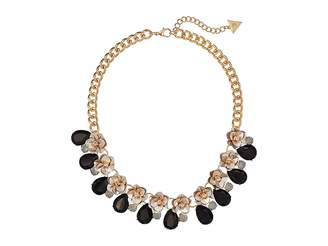 GUESS Floral Motif Collar Necklace with Stone Accents Necklace