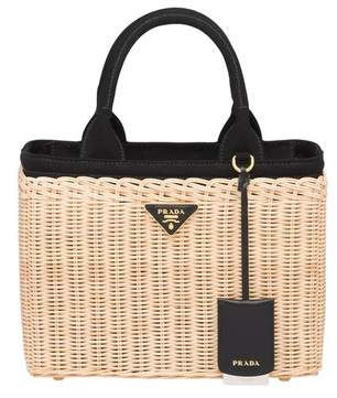 03eaf801cd00 Prada Wicker And Canvas Handbag