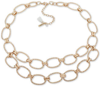 """lonna & lilly Gold-Tone Pave Link Double-Row Collar Necklace, 16"""" + 3"""" extender"""