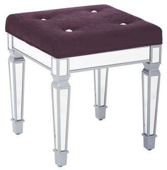 """Ave Six AVE-SIX Reflections 18"""" Mirror Finish Framed Stool with Padded Port Velvet Fabric Top"""
