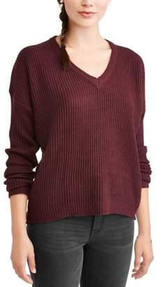 POOF-Slinky Poof! Juniors' Rib Knit Basic V-Neck Long Sleeve Sweater