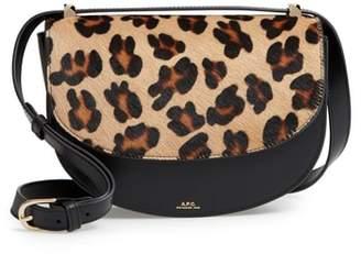 A.P.C. Sac Lausanne Genuine Calf Hair & Leather Crossbody Bag
