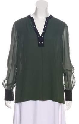 Tory Burch Silk Long-Sleeve Top
