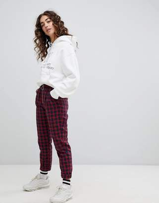 Daisy Street slim fit pants with ring pull in plaid