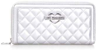 Love Moschino Silver Color Quilted Faux Leather Wallet