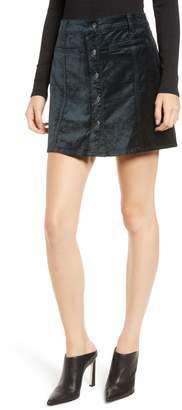 7 For All Mankind Button Front Velvet Miniskirt