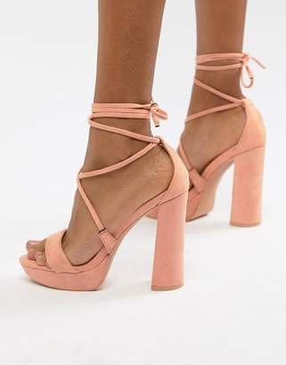 51c8b8da428 Public Desire Freesia Peach Platform Block Heeled Sandals