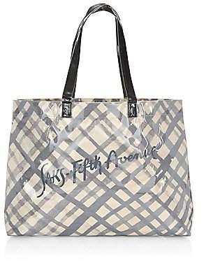 Saks Fifth Avenue Women's PVC Grid Pattern Logo Shopper