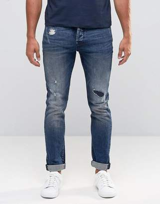 Only & Sons Rip & Repair Skinny Fit Jeans with Stretch $67 thestylecure.com