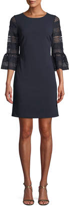 Donna Ricco Crochet Bell-Sleeve Shift Dress