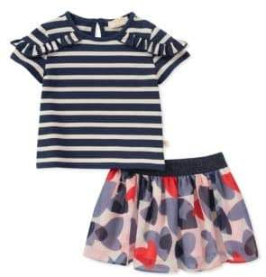 Kate Spade Baby Girl's Two-Piece Confetti Hearts Striped Top and Skirt Set