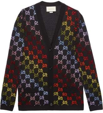 Gucci Wool cardigan with GG rhinestone motif