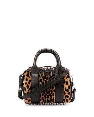 Alexander Wang Mini Rockie Printed Kangaroo Fur Satchel Bag, Cheetah $750 thestylecure.com