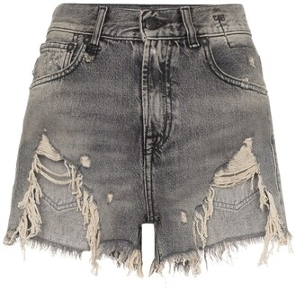 R 13 shredded ripped hem denim shorts