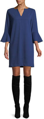 Joan Vass Slit-Neck 3/4 Bell Sleeve A-Line Crepe Dress, Plus Size
