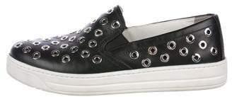 Prada Grommet Embellished Slip-On Sneakers