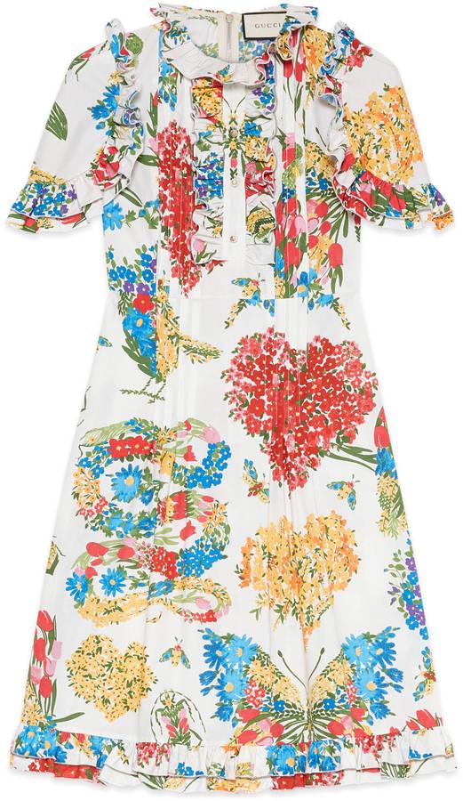 GucciCorsage print cotton dress
