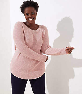 LOFT Plus Marled Bow Back Sweater