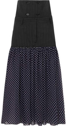 Rokh - Dual Pinstriped Twill And Polka-dot Chiffon Skirt - Navy