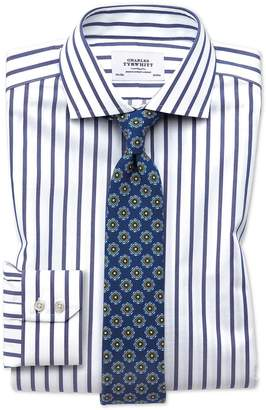 Charles Tyrwhitt Extra Slim Fit Spread Collar Non-Iron Bengal Wide Stripe White and Blue Cotton Dress Shirt Single Cuff Size 15/33
