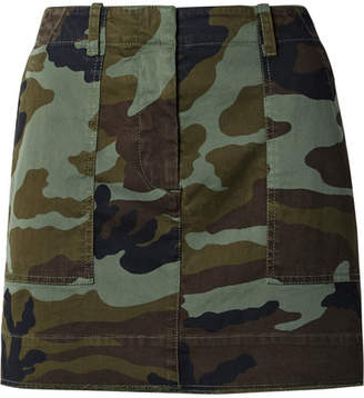 Nili Lotan Camouflage-print Stretch-cotton Mini Skirt - Army green