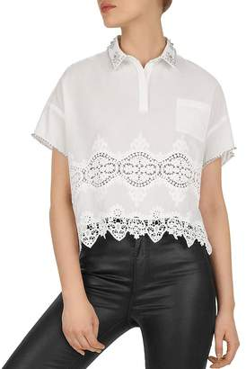 The Kooples Embellished Guipure Lace-Trimmed Blouse