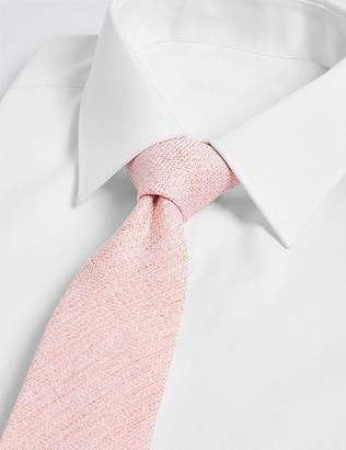 Marks and Spencer Silk with Linen Textured Plain Tie