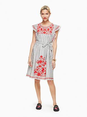 Kate Spade Stripe embroidered babydoll dress