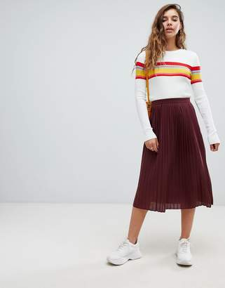Asos DESIGN pleated midi skirt in jersey