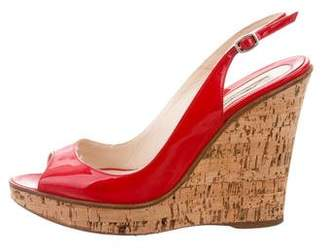 Brian Atwood Peep-Toe Cork Wedges