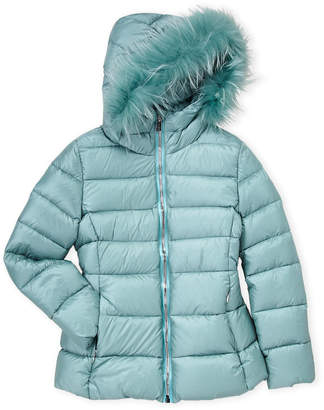 ADD Girls 7-16) Real Fur Trim Down Coat