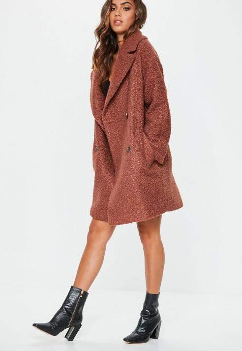 Tan Oversized Boucle Coat, Tan