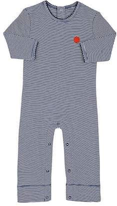 Lisa Perry Infants' Dot-Embroidered Striped Cotton Coverall