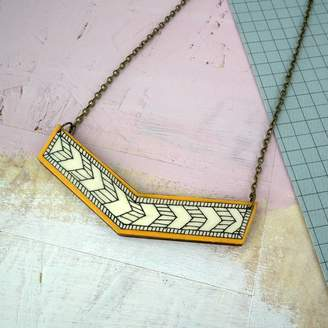 Red Paper House Illustrated Geometric Chevron Necklace
