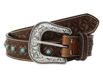 Nocona M&F Western Diamond Emboss Belt w/ Turquoise Stones