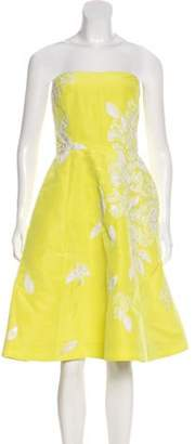 Oscar de la Renta Beaded Cocktail Dress Yellow Beaded Cocktail Dress