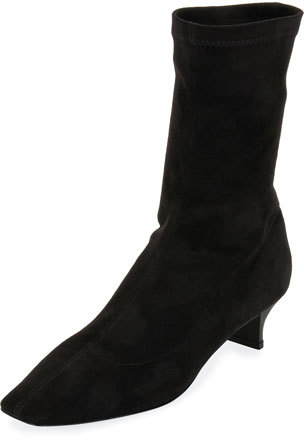 Stella McCartney Faux Stretch-Suede Bootie, Black