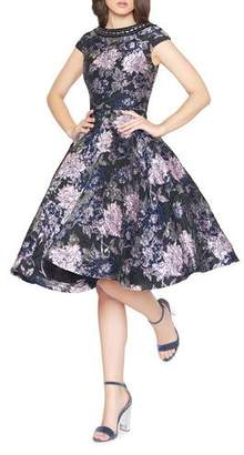 Mac Duggal Bejeweled Boat-Neck Cap-Sleeve Floral-Print Fit-&-Flare Dress
