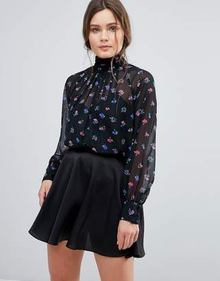 Asos DESIGN High Neck Blouse in Bright Ditsy