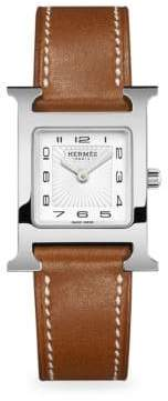 Hermes Watches Stainless Steel& Leather Strap Watch