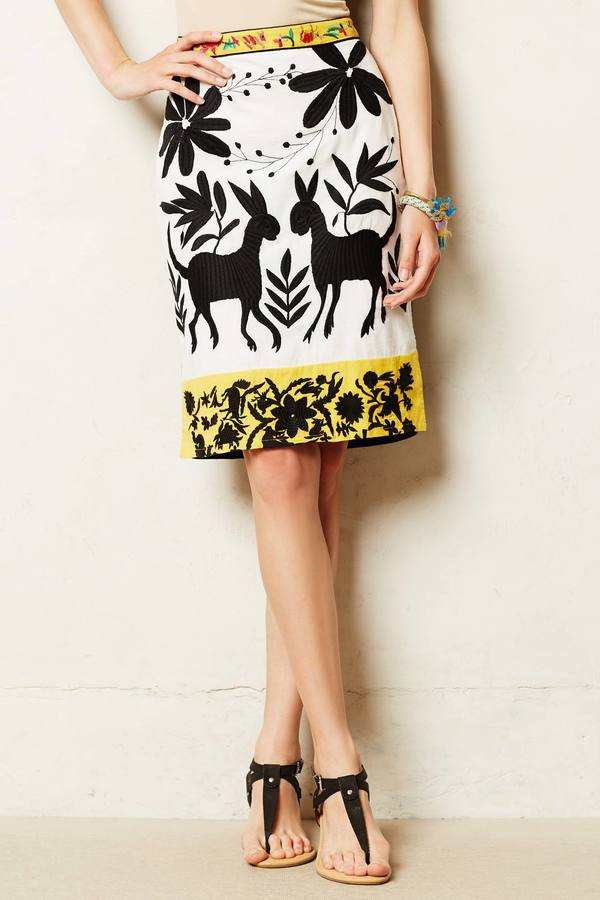 Anthropologie Vanessa Virginia Sonja Embroidered Pencil Skirt