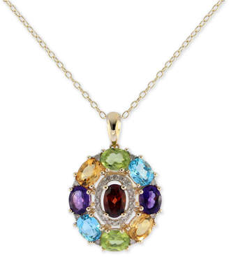 "Macy's Sophisticate by EFFY® Multi-Gemstone (3-1/2 ct. t.w.) & Diamond (1/8 ct. t.w.) Pendant Necklace in 14k Gold, 16"" + 2"" extender"