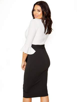 20c8edd2b8d5 Jessica Wright Sistaglam Loves 2-in-1 Wrap Top Bodycon Midi Dress - Black