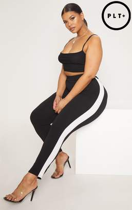 PrettyLittleThing Plus Black Side Stripe Cropped Cigarette Trousers