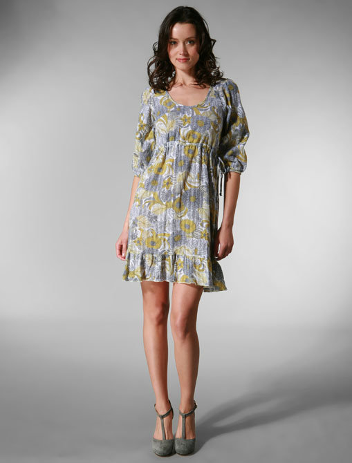 Puella Long Sleeve Drawstring Dress in Aspen