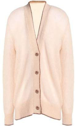 Christopher Kane Metallic-Trimmed Ribbed-Knit Cardigan