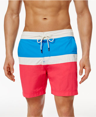 "Tommy Hilfiger Men's Colorblocked 6"" Board Shorts $59.50 thestylecure.com"