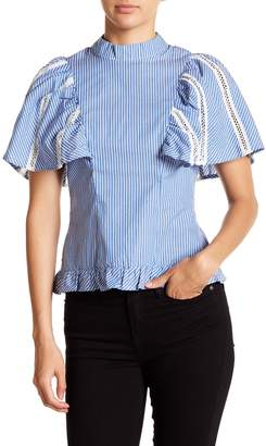 OnTwelfth Striped Flutter Sleeve Top